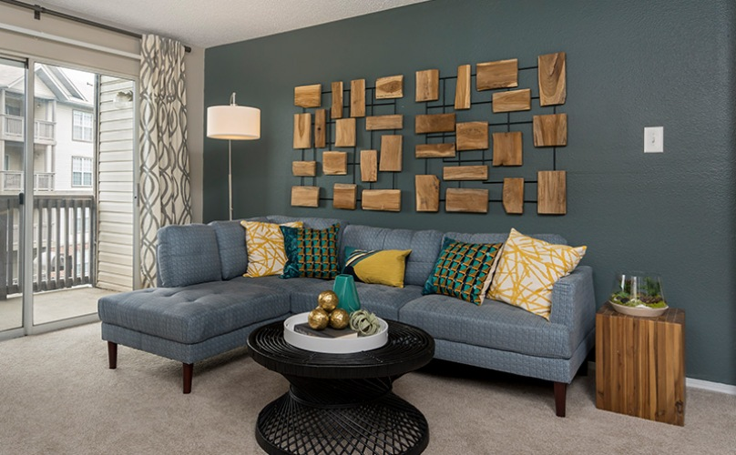 Living room with a blue accent wall